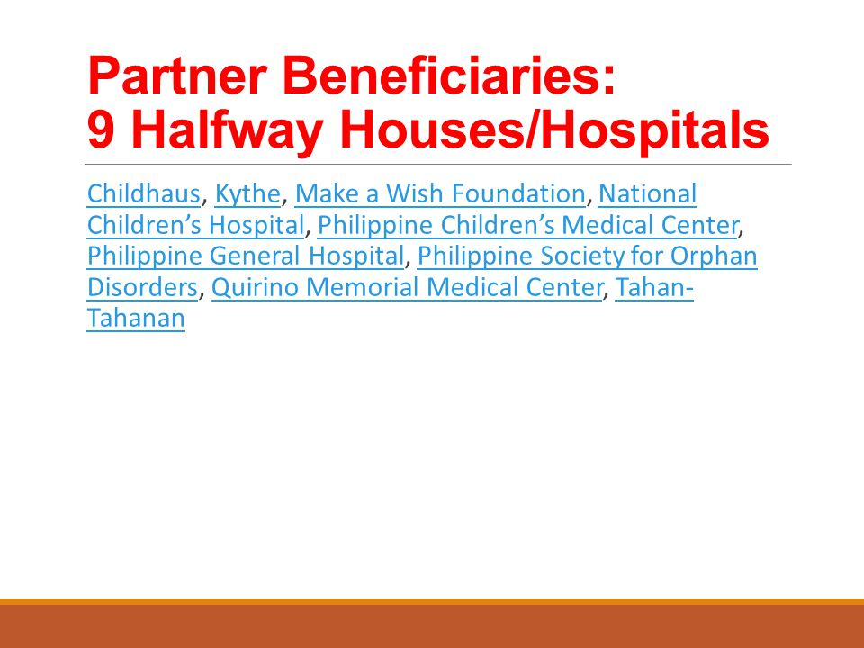 Partner Beneficiaries: 9 Halfway Houses/Hospitals Childhaus, Kythe, Make a Wish Foundation, National Children's Hospital, Philippine Children's Medical Center, Philippine General Hospital, Philippine Society for Orphan Disorders, Quirino Memorial Medical Center, Tahan- TahananChildhausKytheMake a Wish FoundationNational Children's HospitalPhilippine Children's Medical Center Philippine General HospitalPhilippine Society for Orphan DisordersQuirino Memorial Medical CenterTahan- Tahanan