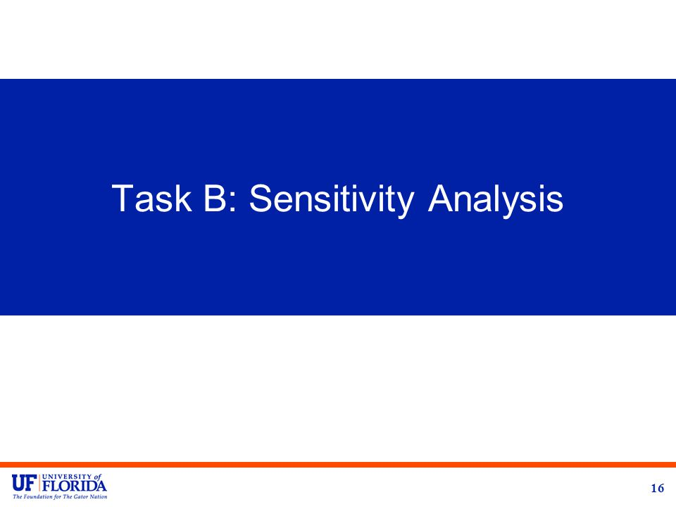 Task B: Sensitivity Analysis 16