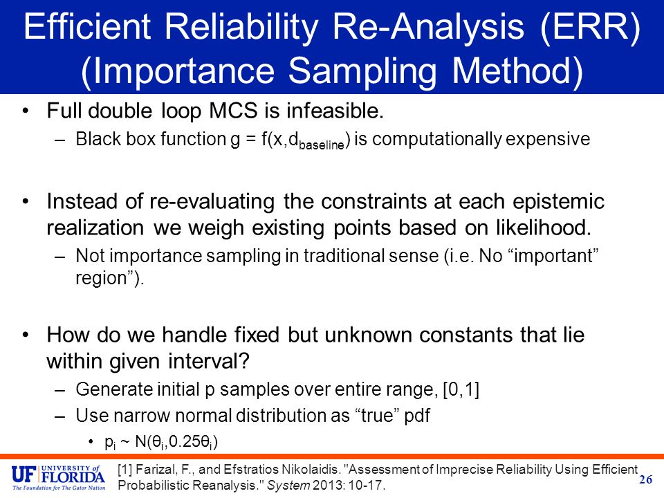 Efficient Reliability Re-Analysis (ERR) (Importance Sampling Method) Full double loop MCS is infeasible.