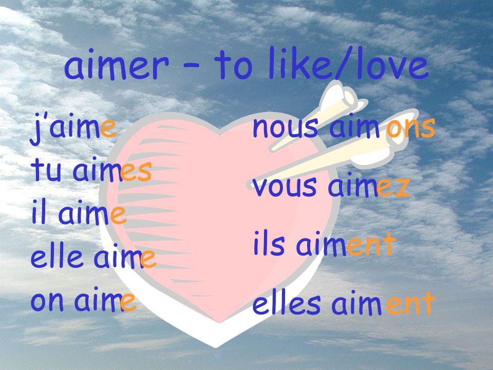 aimer – to like/love j'aim tu aim il aim elle aim on aim e es e e e nous aim vous aim ils aim elles aim ons ez ent ent