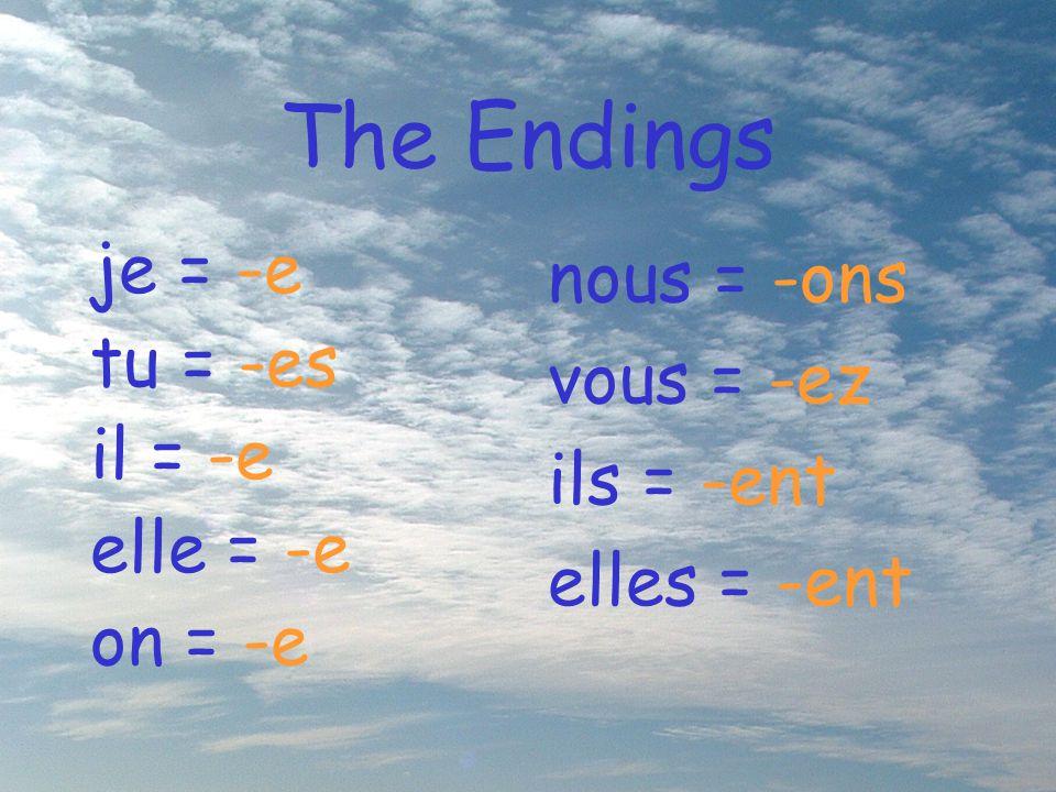 The Endings je = -e tu = -es il = -e elle = -e on = -e nous = -ons vous = -ez ils = -ent elles = -ent