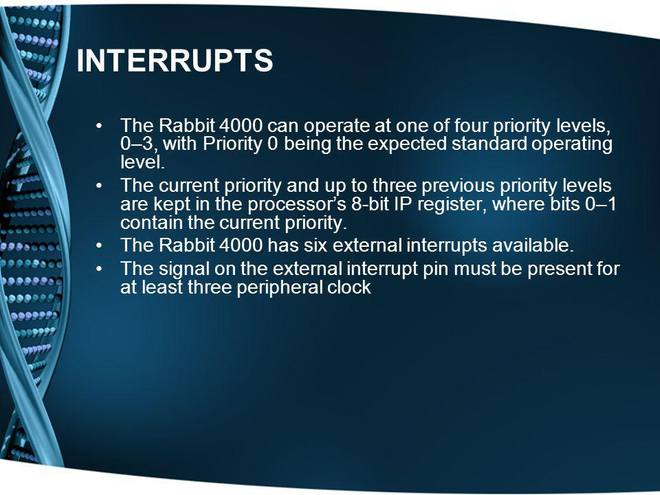 INTERRUPTS The Rabbit 4000 can operate at one of four priority levels, 0–3, with Priority 0 being the expected standard operating level. The current p