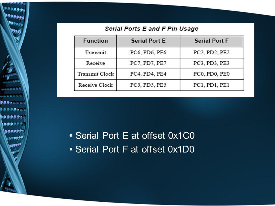 Serial Port E at offset 0x1C0 Serial Port F at offset 0x1D0
