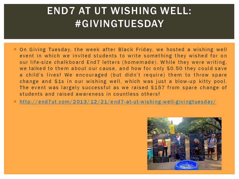  On Giving Tuesday, the week after Black Friday, we hosted a wishing well event in which we invited students to write something they wished for on ou