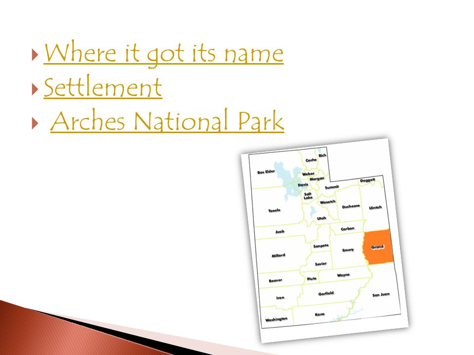  Where it got its name Where it got its name  Settlement Settlement  Arches National ParkArches National Park