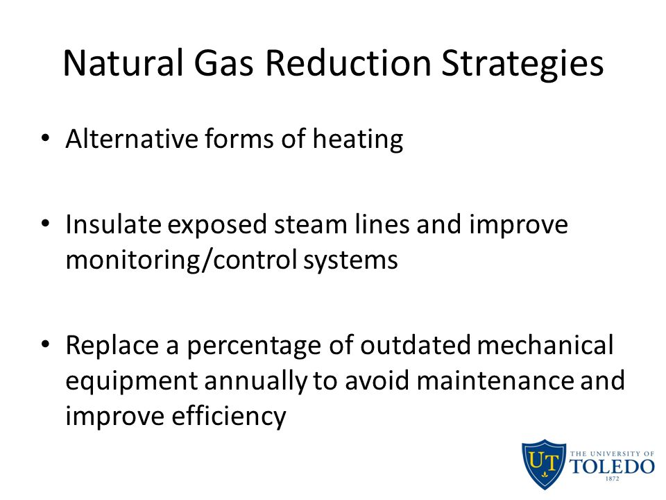 Natural Gas Reduction Strategies Alternative forms of heating Insulate exposed steam lines and improve monitoring/control systems Replace a percentage of outdated mechanical equipment annually to avoid maintenance and improve efficiency
