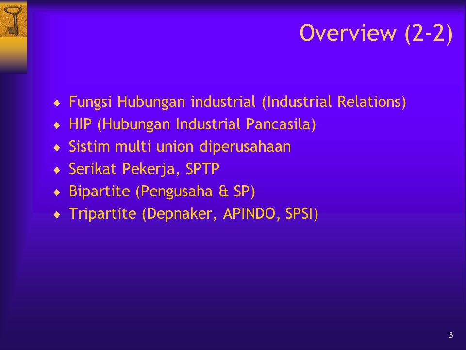 3 Overview (2-2)  Fungsi Hubungan industrial (Industrial Relations)  HIP (Hubungan Industrial Pancasila)  Sistim multi union diperusahaan  Serikat Pekerja, SPTP  Bipartite (Pengusaha & SP)  Tripartite (Depnaker, APINDO, SPSI)