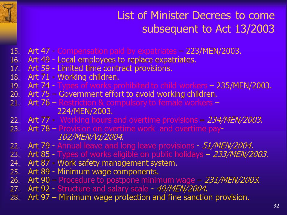 32 List of Minister Decrees to come subsequent to Act 13/2003 15.