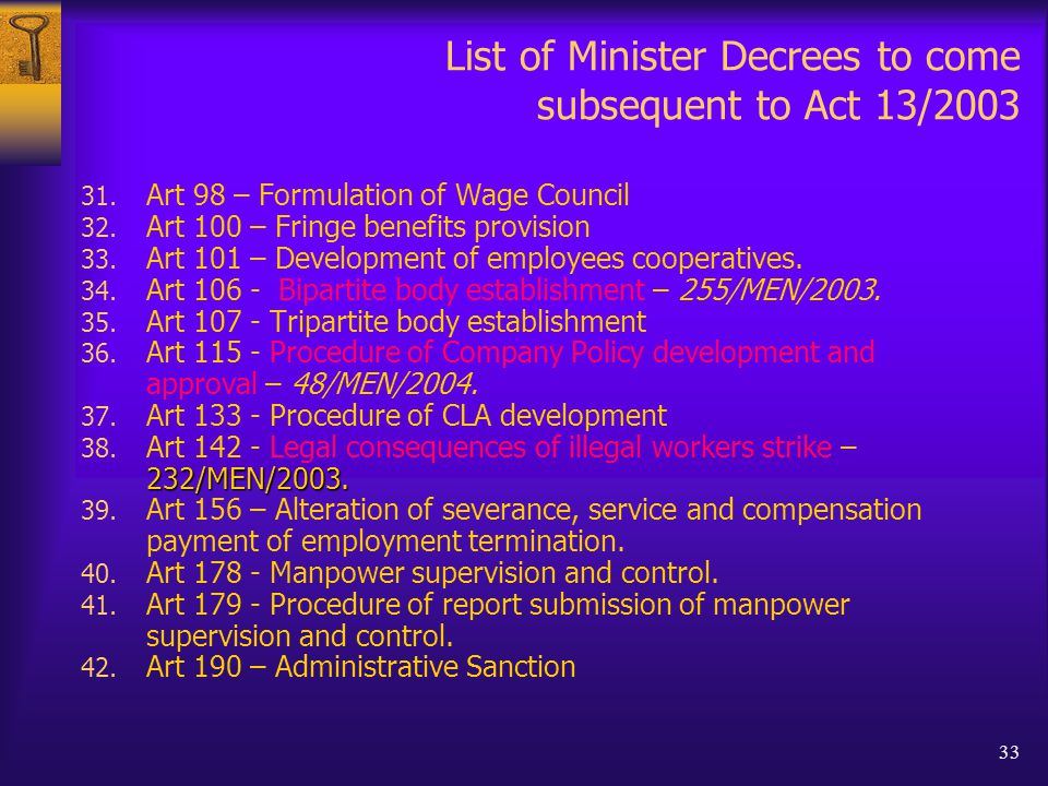 33 List of Minister Decrees to come subsequent to Act 13/2003 31.