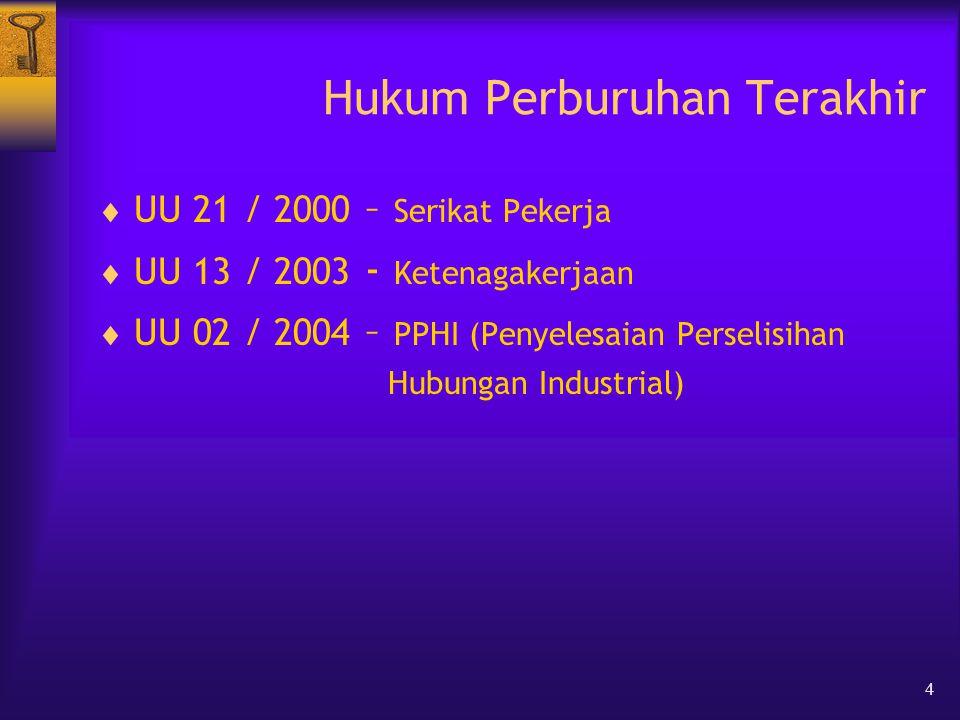 4 Hukum Perburuhan Terakhir  UU 21 / 2000 – Serikat Pekerja  UU 13 / 2003 - Ketenagakerjaan  UU 02 / 2004 – PPHI (Penyelesaian Perselisihan Hubungan Industrial)