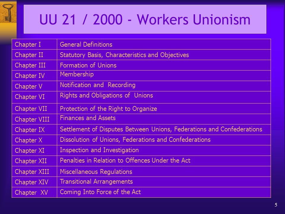 5 UU 21 / 2000 - Workers Unionism Chapter IGeneral Definitions Chapter IIStatutory Basis, Characteristics and Objectives Chapter IIIFormation of Unions Chapter IV Membership Chapter V Notification and Recording Chapter VI Rights and Obligations of Unions Chapter VIIProtection of the Right to Organize Chapter VIII Finances and Assets Chapter IX Settlement of Disputes Between Unions, Federations and Confederations Chapter X Dissolution of Unions, Federations and Confederations Chapter XI Inspection and Investigation Chapter XII Penalties in Relation to Offences Under the Act Chapter XIIIMiscellaneous Regulations Chapter XIV Transitional Arrangements Chapter XV Coming Into Force of the Act
