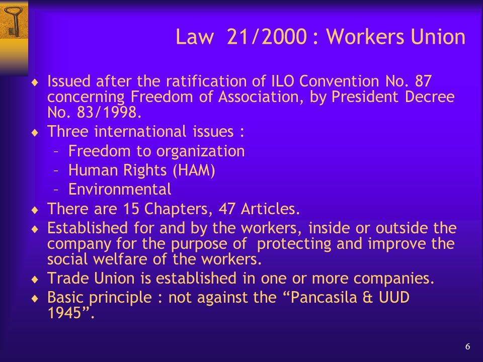17 Law 21/2000 - Chapter XI Inspection and Investigation  The inspection officials from Manpower office are functioning to ensure the right to associate and conduct their activities.