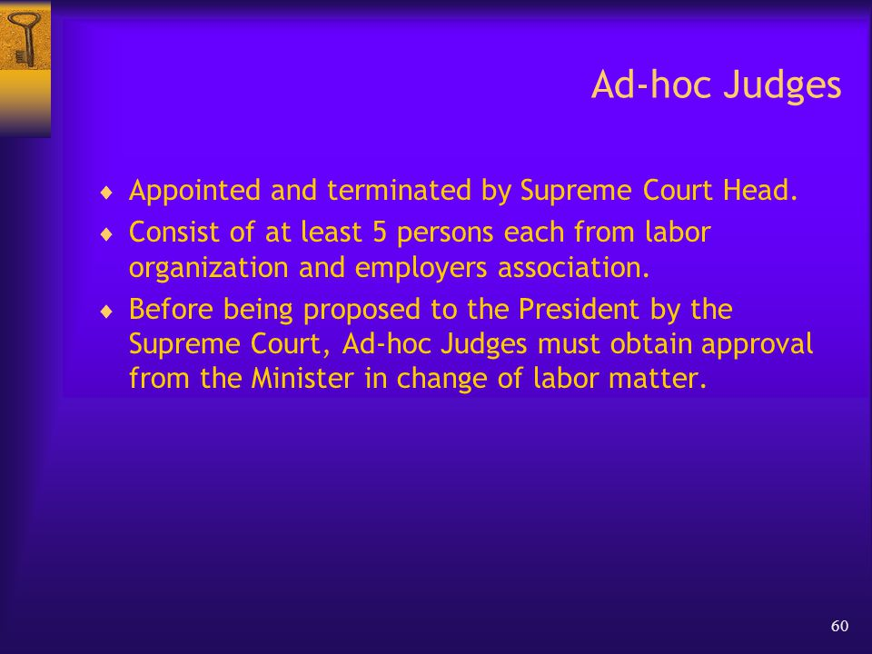60 Ad-hoc Judges  Appointed and terminated by Supreme Court Head.