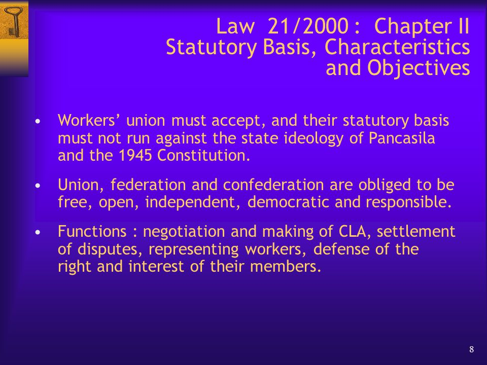 19 Law 21/2000 : Chapter XIII – Miscellaneous Regulations  Government employees have freedom of association.