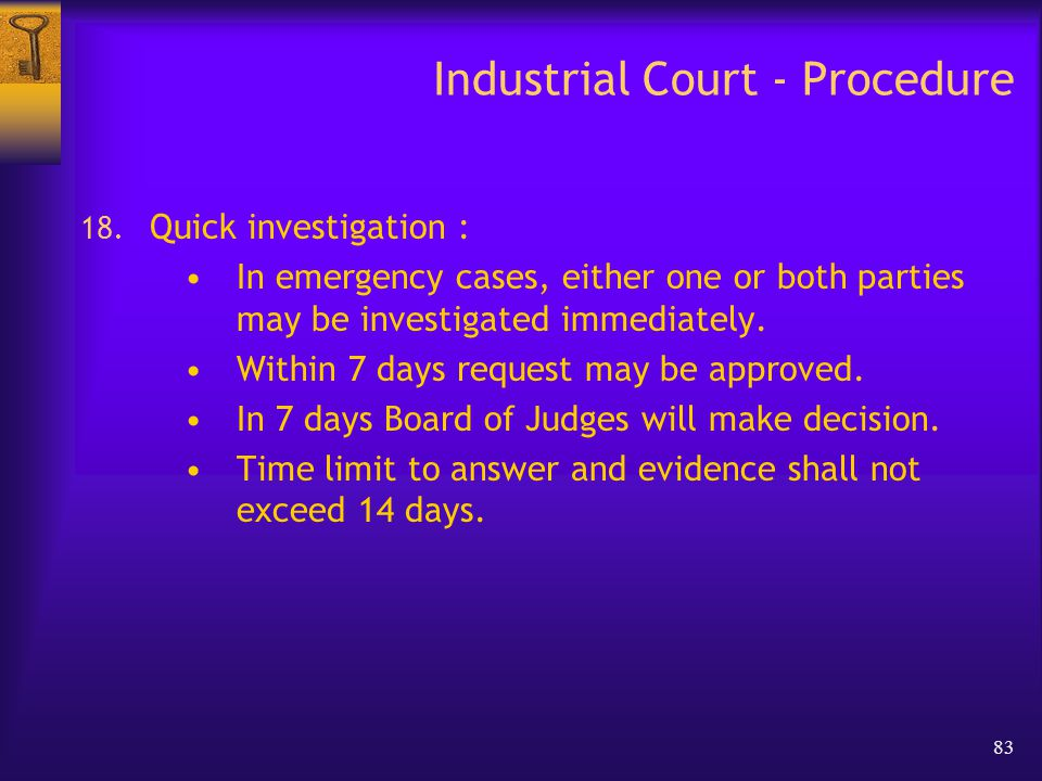 83 Industrial Court - Procedure 18.