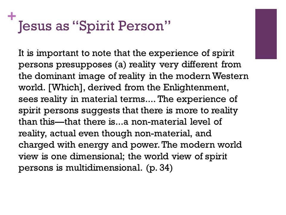 + Jesus as Spirit Person It is important to note that the experience of spirit persons presupposes (a) reality very different from the dominant image of reality in the modern Western world.