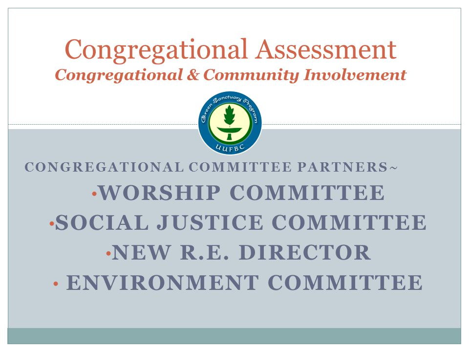 Congregational Assessment Congregational & Community Involvement CONGREGATIONAL COMMITTEE PARTNERS~ WORSHIP COMMITTEE SOCIAL JUSTICE COMMITTEE NEW R.E.