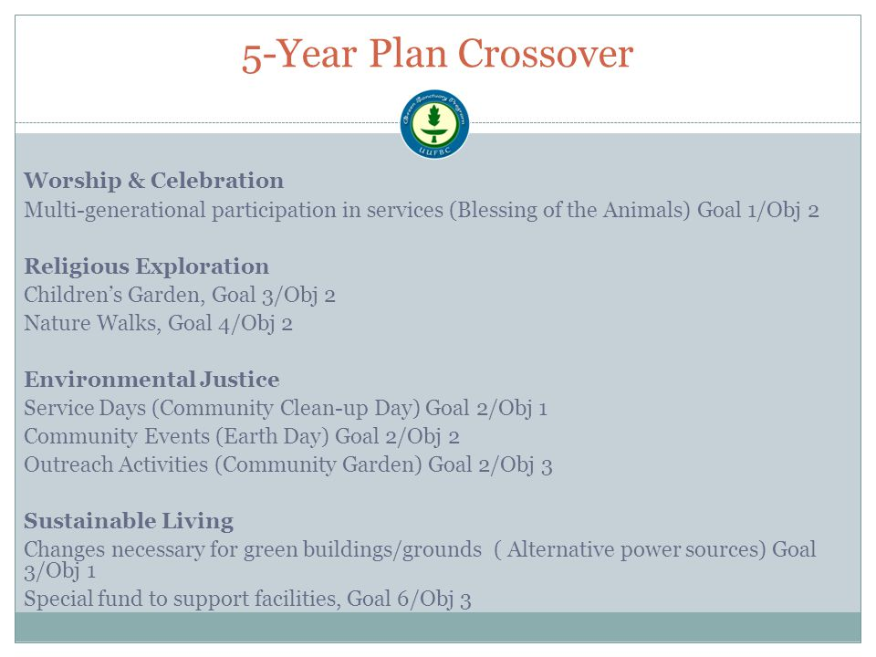 5-Year Plan Crossover Worship & Celebration Multi-generational participation in services (Blessing of the Animals) Goal 1/Obj 2 Religious Exploration Children's Garden, Goal 3/Obj 2 Nature Walks, Goal 4/Obj 2 Environmental Justice Service Days (Community Clean-up Day) Goal 2/Obj 1 Community Events (Earth Day) Goal 2/Obj 2 Outreach Activities (Community Garden) Goal 2/Obj 3 Sustainable Living Changes necessary for green buildings/grounds ( Alternative power sources) Goal 3/Obj 1 Special fund to support facilities, Goal 6/Obj 3