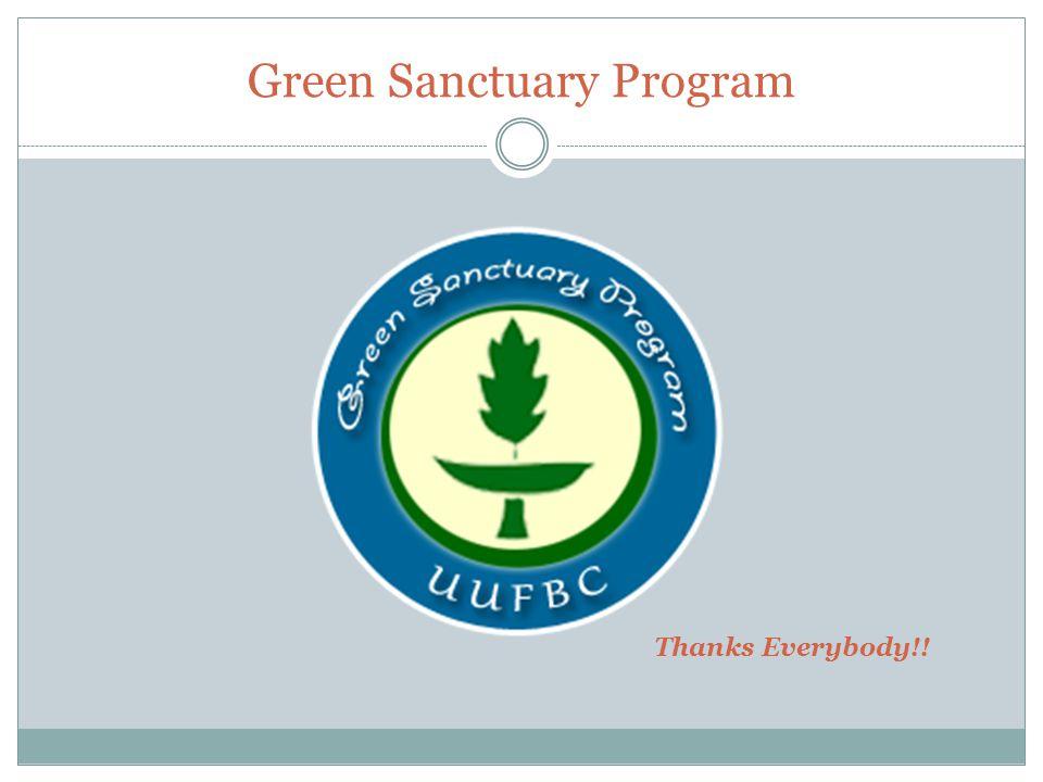 Green Sanctuary Program Thanks Everybody!!