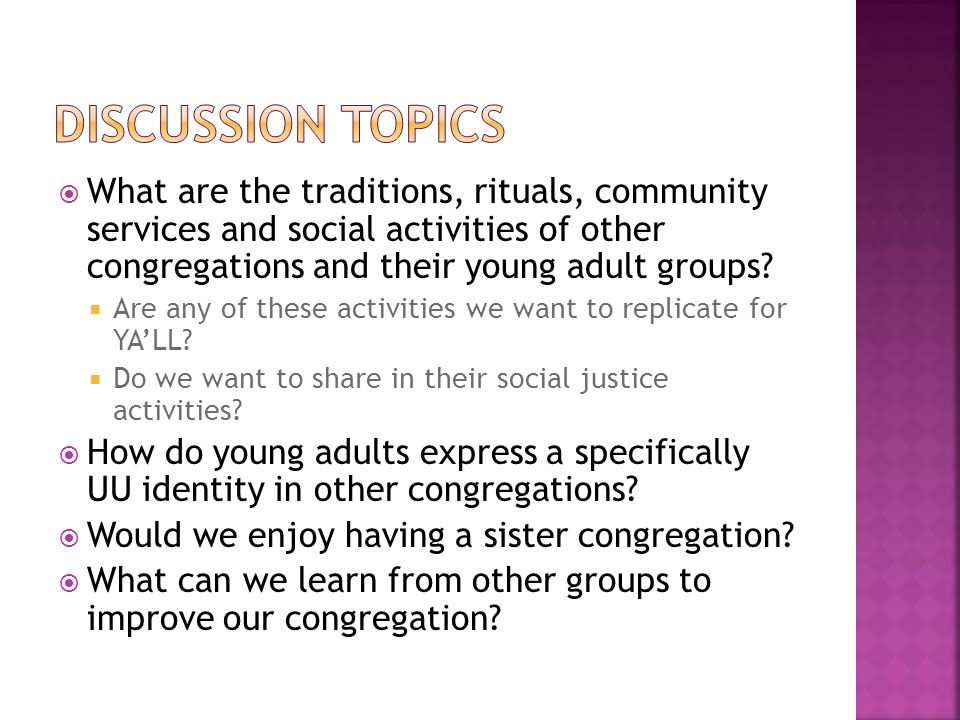  What are the traditions, rituals, community services and social activities of other congregations and their young adult groups.