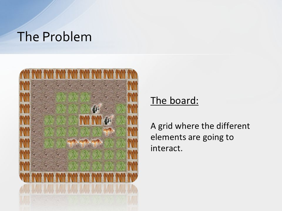 The board: A grid where the different elements are going to interact. The Problem
