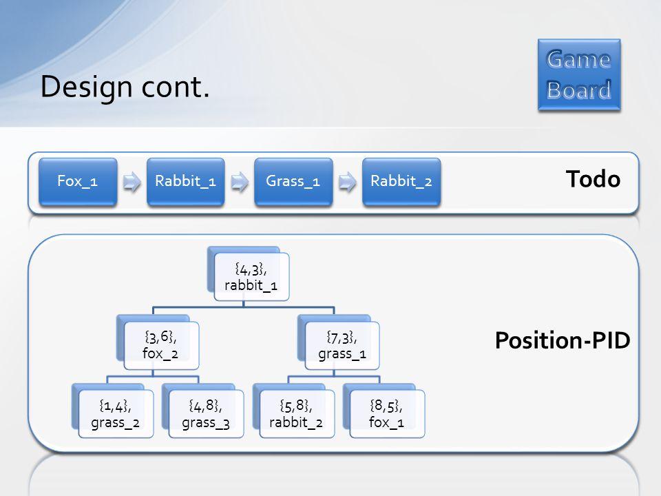 Design cont. Fox_1Rabbit_1Grass_1Rabbit_2 {4,3}, rabbit_1 {3,6}, fox_2 {1,4}, grass_2 {4,8}, grass_3 {7,3}, grass_1 {5,8}, rabbit_2 {8,5}, fox_1 Todo