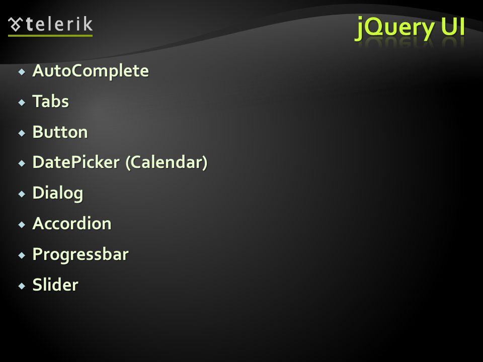  AutoComplete  Tabs  Button  DatePicker (Calendar)  Dialog  Accordion  Progressbar  Slider