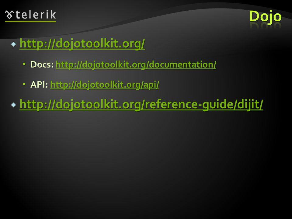  http://dojotoolkit.org/ http://dojotoolkit.org/  Docs: http://dojotoolkit.org/documentation/ http://dojotoolkit.org/documentation/  API: http://dojotoolkit.org/api/ http://dojotoolkit.org/api/  http://dojotoolkit.org/reference-guide/dijit/ http://dojotoolkit.org/reference-guide/dijit/