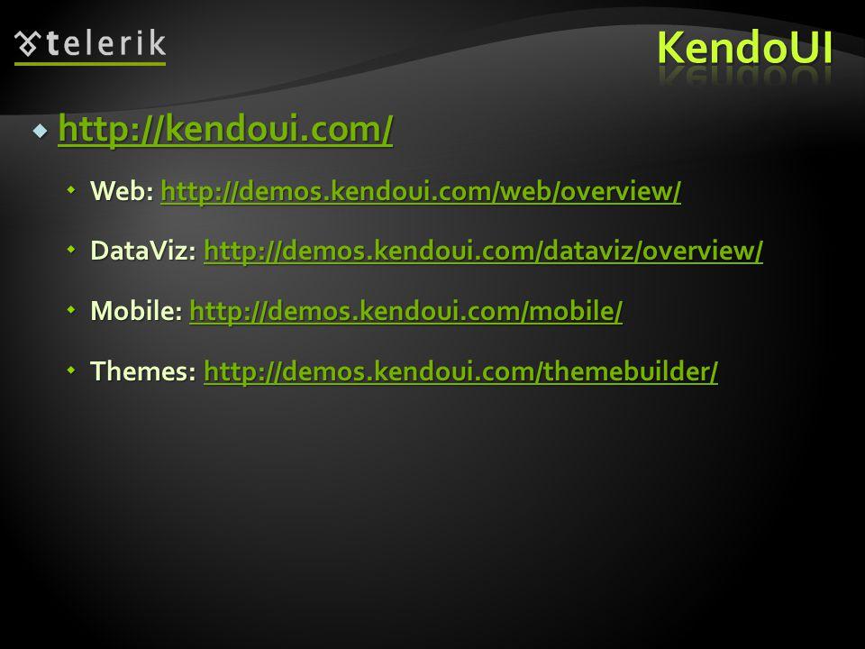  http://kendoui.com/ http://kendoui.com/  Web: http://demos.kendoui.com/web/overview/ http://demos.kendoui.com/web/overview/  DataViz: http://demos.kendoui.com/dataviz/overview/ http://demos.kendoui.com/dataviz/overview/  Mobile: http://demos.kendoui.com/mobile/ http://demos.kendoui.com/mobile/  Themes: http://demos.kendoui.com/themebuilder/ http://demos.kendoui.com/themebuilder/