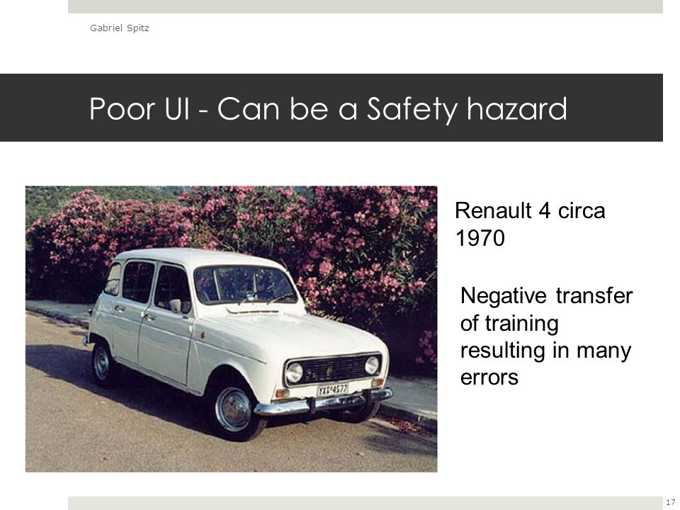 Poor UI - Can be a Safety hazard Gabriel Spitz 17 Negative transfer of training resulting in many errors Renault 4 circa 1970