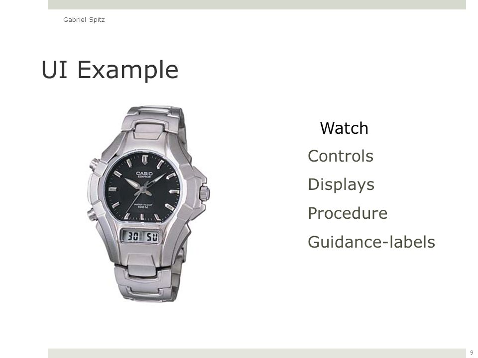 9 Controls Displays Procedure Guidance-labels UI Example Watch