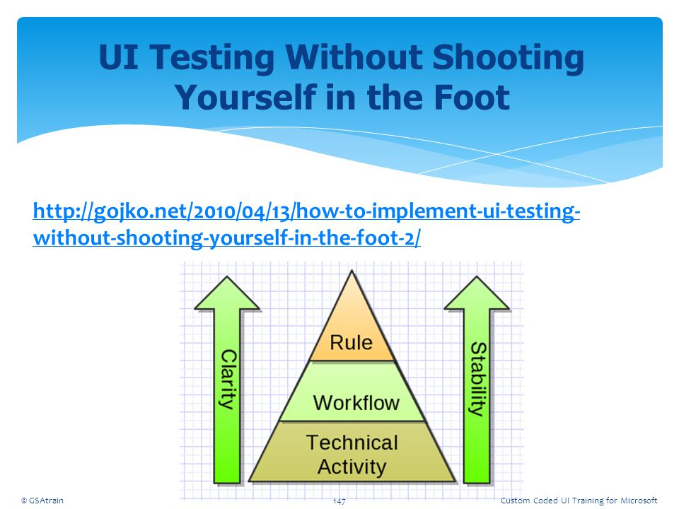 UI Testing Without Shooting Yourself in the Foot http://gojko.net/2010/04/13/how-to-implement-ui-testing- without-shooting-yourself-in-the-foot-2/ © G