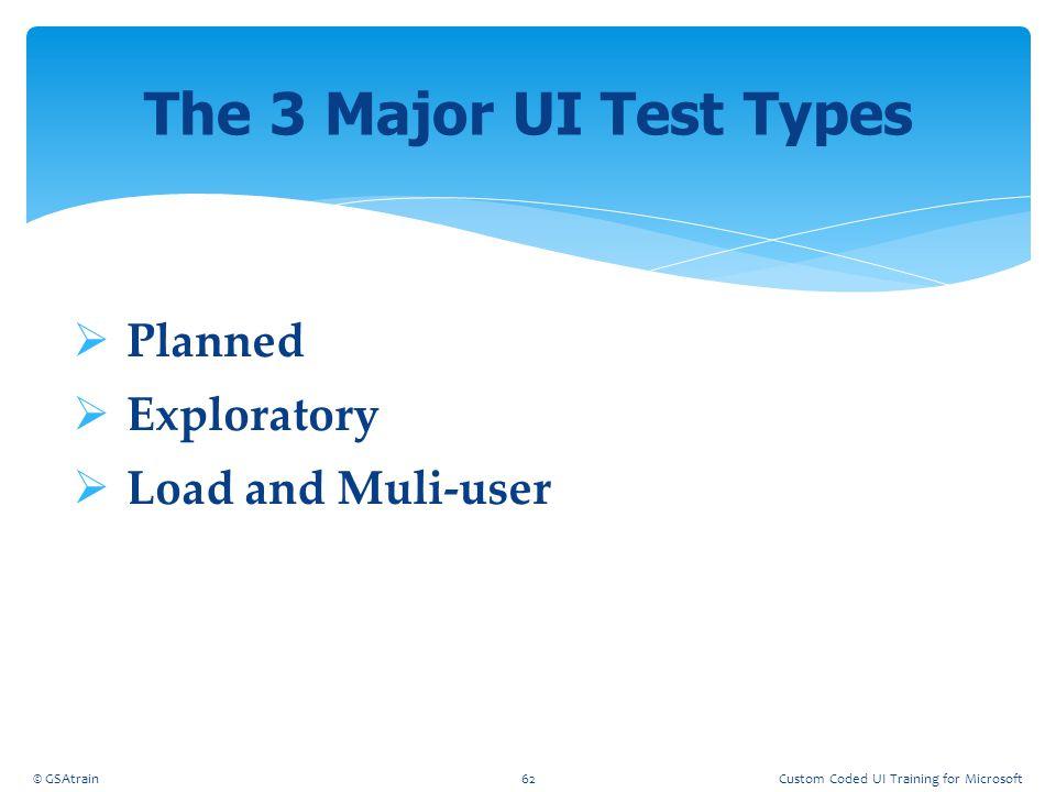  Planned  Exploratory  Load and Muli-user The 3 Major UI Test Types © GSAtrain62Custom Coded UI Training for Microsoft