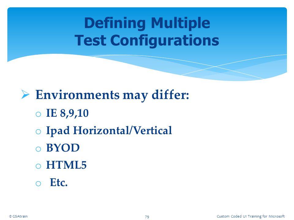  Environments may differ: o IE 8,9,10 o Ipad Horizontal/Vertical o BYOD o HTML5 o Etc. Defining Multiple Test Configurations © GSAtrain79Custom Coded