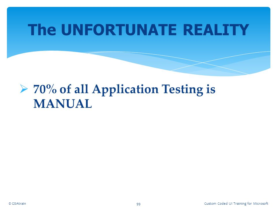  70% of all Application Testing is MANUAL The UNFORTUNATE REALITY © GSAtrain99Custom Coded UI Training for Microsoft