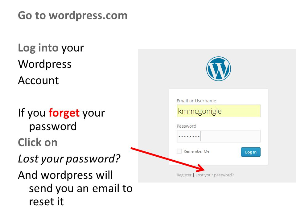 Go to wordpress.com Log into your Wordpress Account If you forget your password Click on Lost your password.