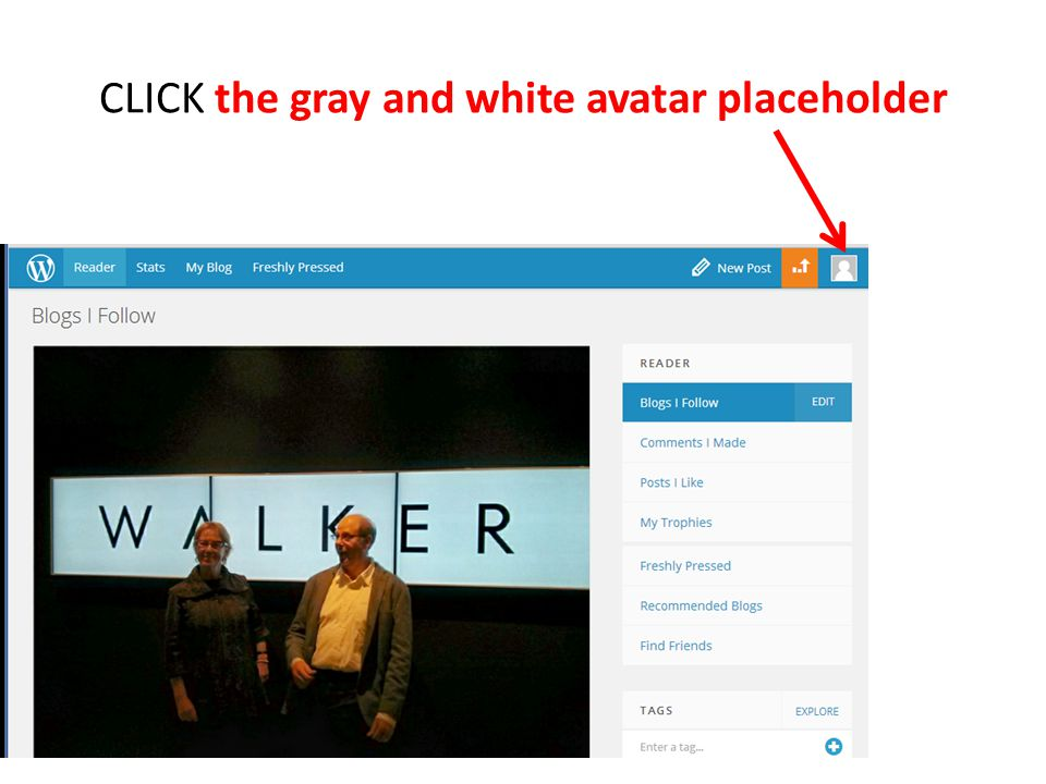 CLICK the gray and white avatar placeholder