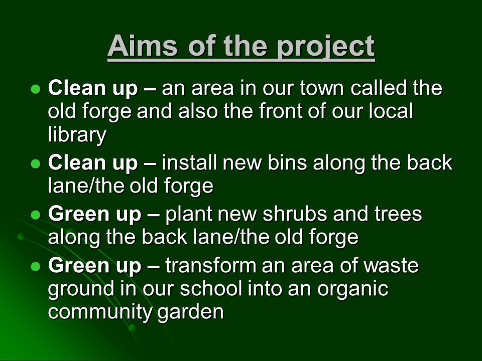 Aims of the project Clean up – an area in our town called the old forge and also the front of our local library Clean up – an area in our town called the old forge and also the front of our local library Clean up – install new bins along the back lane/the old forge Clean up – install new bins along the back lane/the old forge Green up – plant new shrubs and trees along the back lane/the old forge Green up – plant new shrubs and trees along the back lane/the old forge Green up – transform an area of waste ground in our school into an organic community garden Green up – transform an area of waste ground in our school into an organic community garden