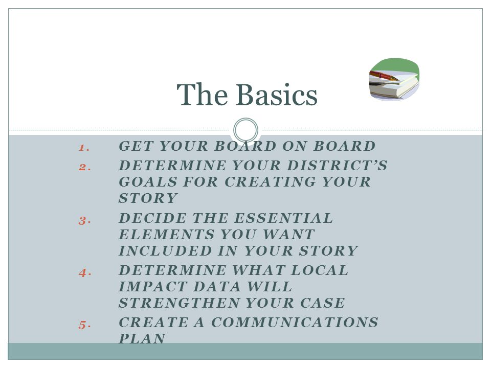 1. GET YOUR BOARD ON BOARD 2. DETERMINE YOUR DISTRICT'S GOALS FOR CREATING YOUR STORY 3.