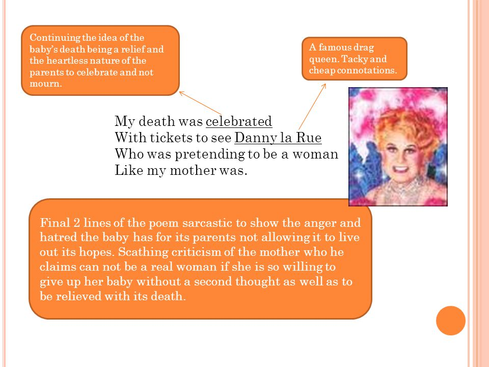 My death was celebrated With tickets to see Danny la Rue Who was pretending to be a woman Like my mother was. Continuing the idea of the baby's death