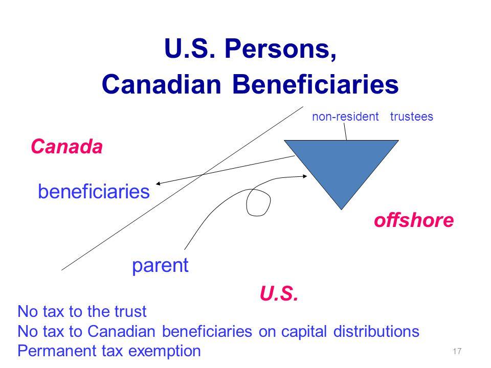 17 U.S. Persons, Canadian Beneficiaries parent beneficiaries Canada U.S.