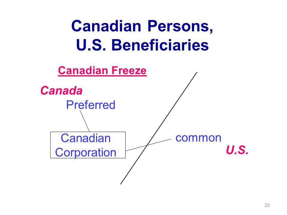 26 Canadian Persons, U.S. Beneficiaries common Preferred Canada U.S.