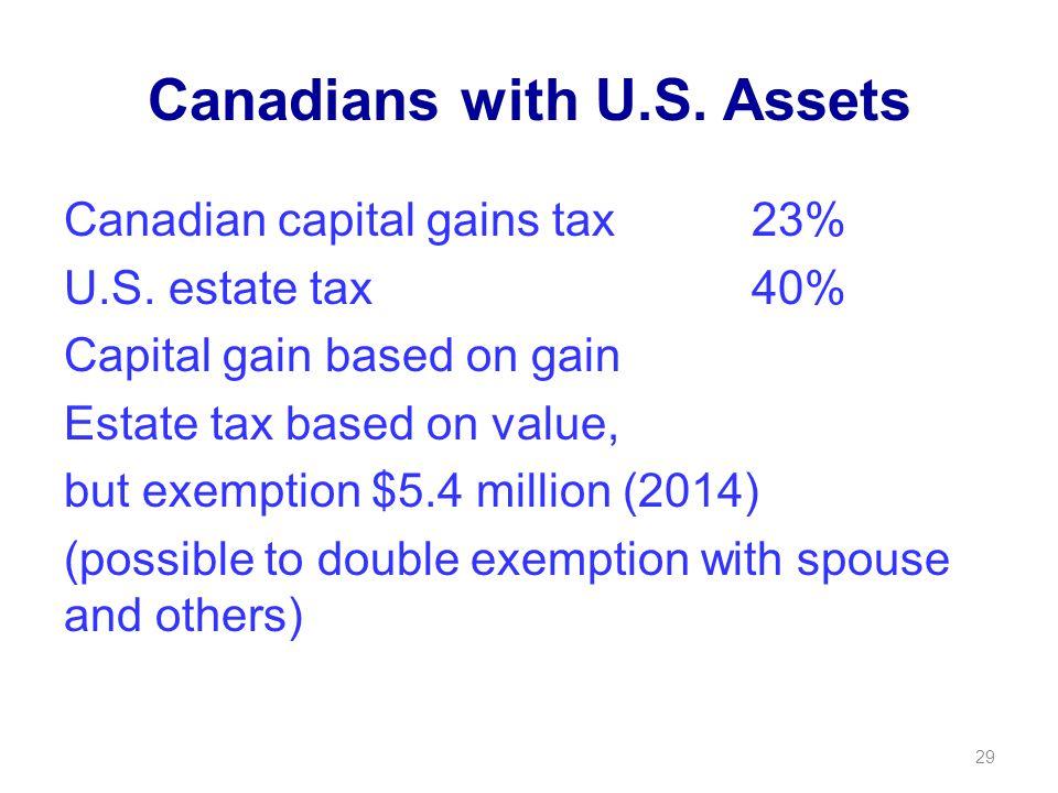 Canadians with U.S. Assets Canadian capital gains tax23% U.S.