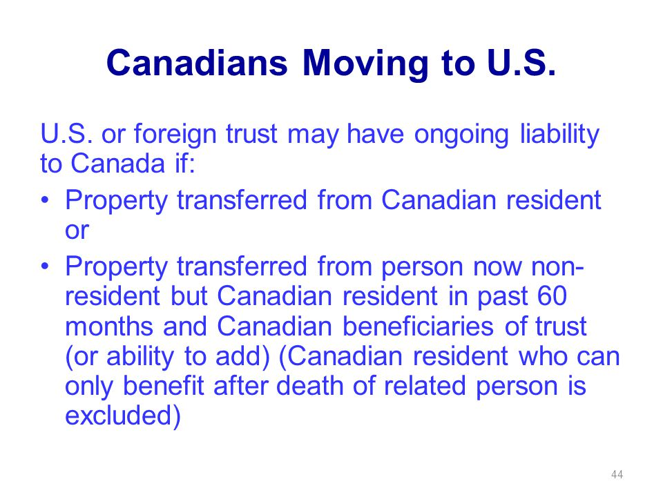 Canadians Moving to U.S. U.S.