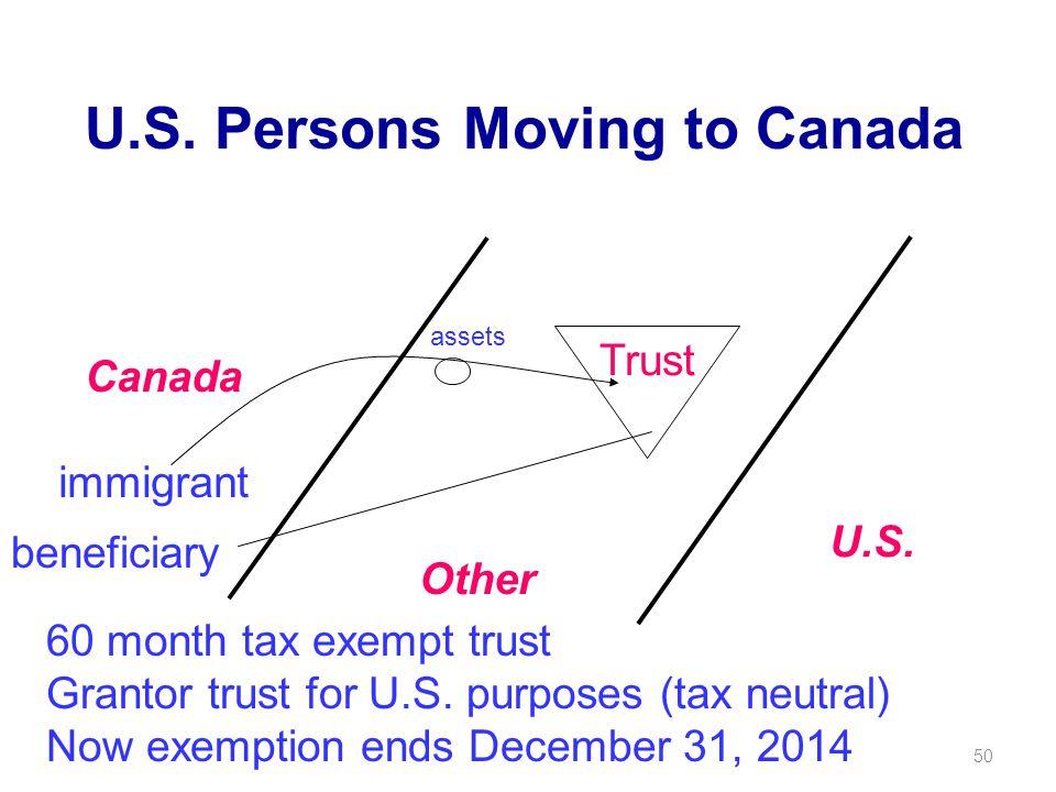 50 U.S. Persons Moving to Canada Canada U.S.