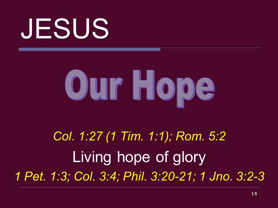 14 JESUS Col. 1:27 (1 Tim. 1:1); Rom. 5:2 Living hope of glory 1 Pet.