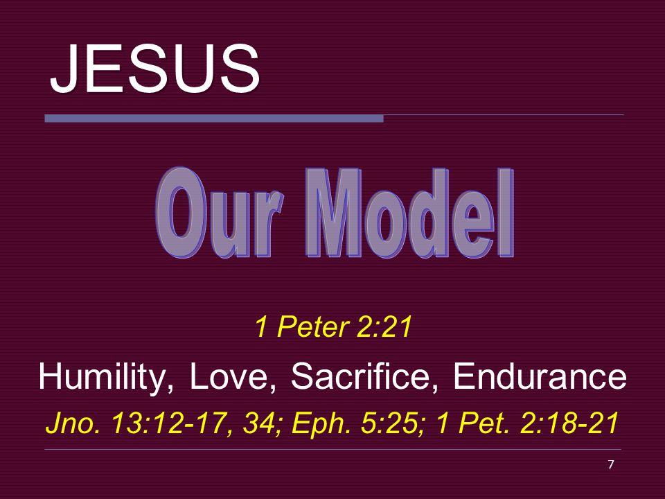 7 JESUS 1 Peter 2:21 Humility, Love, Sacrifice, Endurance Jno.