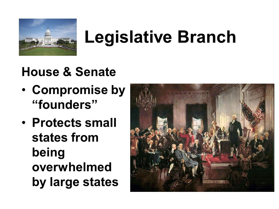 Legislative Branch House & Senate Compromise by founders Protects small states from being overwhelmed by large states