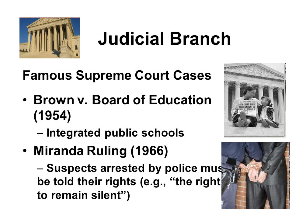 Judicial Branch Famous Supreme Court Cases Brown v.