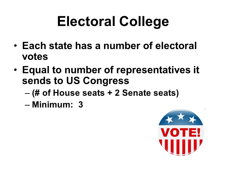 Electoral College Each state has a number of electoral votes Equal to number of representatives it sends to US Congress –(# of House seats + 2 Senate seats) –Minimum: 3